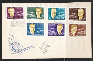 Hungary, Scott cat. C221-227. Honoring First Space Men. IMPF. First day cover. ^