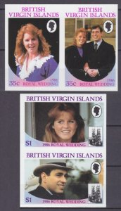 1986 British Virgin Islands 550-553bPaar Prince Andrew and Miss Sarah Ferduson 1
