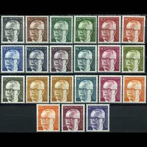 GERMANY 1970 - Scott# 1028-44 Pres.Heinemann Set of 21 NH