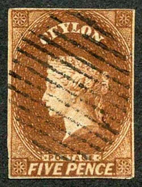 Ceylon 1857 SG5 5d Chestnut Four Margins Cat 150 Pounds
