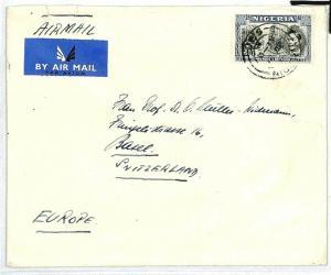 NIGERIA SWITZERLAND Basel Airmail Cover KGVI {samwells-covers} CW200