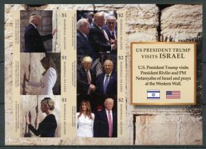 Marshall Islands 2018 MNH Donald Trump Visit Israel Netanyahu 6v IMPF M/S Stamps