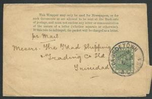BR GUIANA 1904 1c newspaper wrapper used to Trinidad.......................61470
