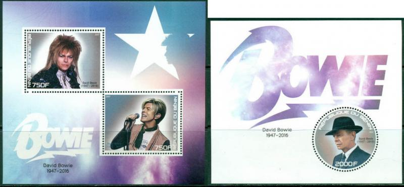 David Bowie In Memoriam Music Benin MNH stamp set