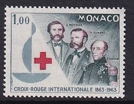 Monaco  #537   MNH  1963   Red Cross   Henri Dufour   1fr