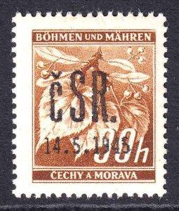 BOHEMIA & MORAVIA 24A FALKNOV 1945 OVERPRINT OG NH U/M F/VF #1