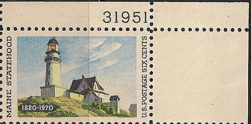 US 1391 Statehood Maine 6c plate single UR MNH 1970