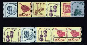 US STAMP MNH COIL SINGLE, PAIR STAMPS COLLECTION LOT