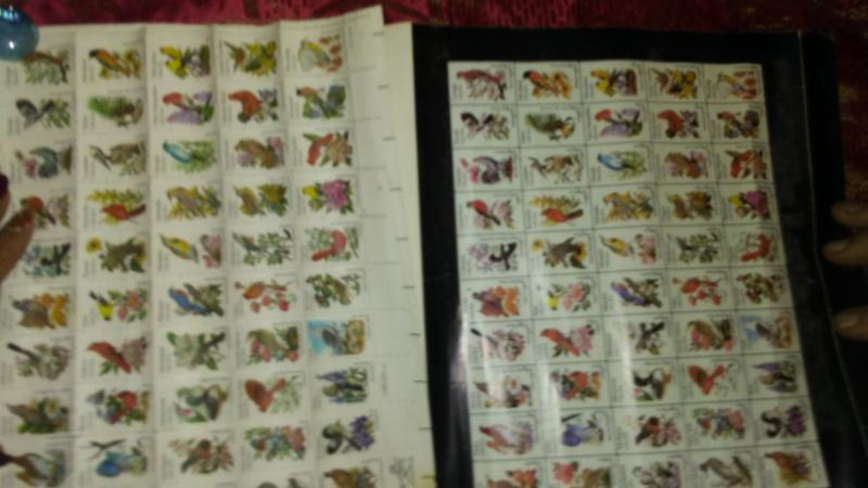 2 Sheets-100 20 cents, Birds and Flowers, Sheets of 50, nice