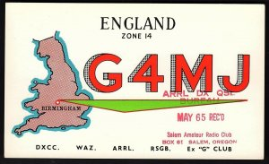 QSL QSO RADIO CARD G4MJ,Pic of England,Ken Basterfield,1964, England (Q2587)