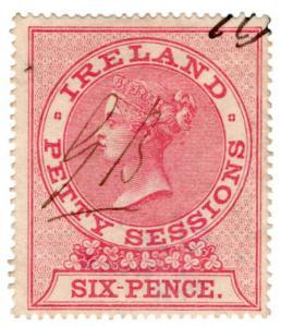 (I.B) QV Revenue : Ireland Petty Sessions 6d (1862)