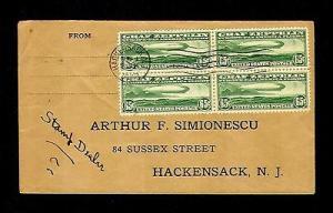 momen: US Stamps #C13 Zeppelin cover Block of 4 XF