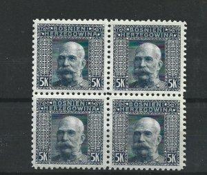 BOSNIA  & HERZEGOVINA 1906  5KR   P 9 1/2  BLOCK OF 4  MNH  CAT £76 NO3