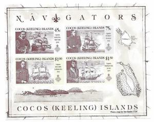 Cocos Islands 1990 Explorers & Their Ships S/S MNH C1