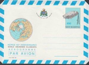 SAN MARINO 1986 650L aerogramme Polar exploration unused....................M975
