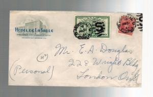 1944 Montreal to London Ontario Canada Hotel de la Salle Advertising Cover