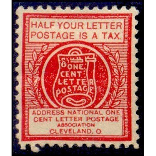 US - National One Cent Letter Postage Association Stamp - Type IV (#5)