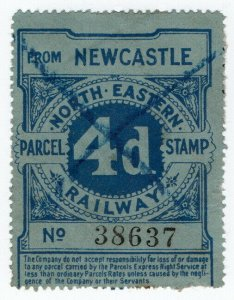 (I.B) North Eastern Railway : Parcel Stamp 4d (Newcastle)