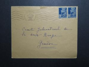 Algeria 1943 Censor Cover to Geneva Red Cross / Sm Top Tear - Z12048