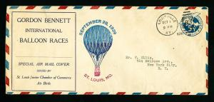 US Stamps 1929 Cover Gordon Bennett for balloon races