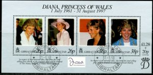 GIBRALTAR Sc#754 1998 Diana Princess of Wales Souvenir Sheet Complete Used