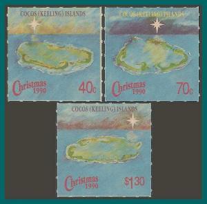 Cocos  1990 Christmas, MNH  #222-224,SG231-SG233