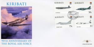 Kiribati 2008 FDC RAF Royal Air Force 90th Anniv 4v Cover Avro Aviation Stamps
