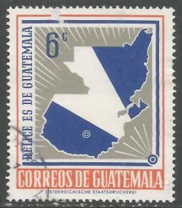 GUATEMALA 398 VFU MAP FLAG CH3-91-2
