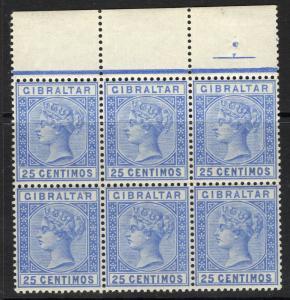 GIBRALTAR SG26 1889 25c ULTRAMARINE MNH BLOCK OF 6