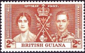 BRITISH GUIANA 1937 KGVI 2c Yellow-Brown, Coronation SG305 MH