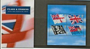 2001 FLAGS AND ENSIGNS MINIATURE SHEET PRESENTATION PACK M06