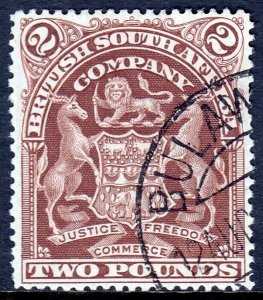 RHODESIA — SCOTT 73 (SG 91) — 1908 £2 ARMS — USED — SCV $7.50