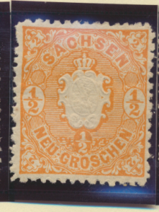 Saxony (German State) Stamp Scott #16, Mint Hinged, Original Gum, Hinge Remna...