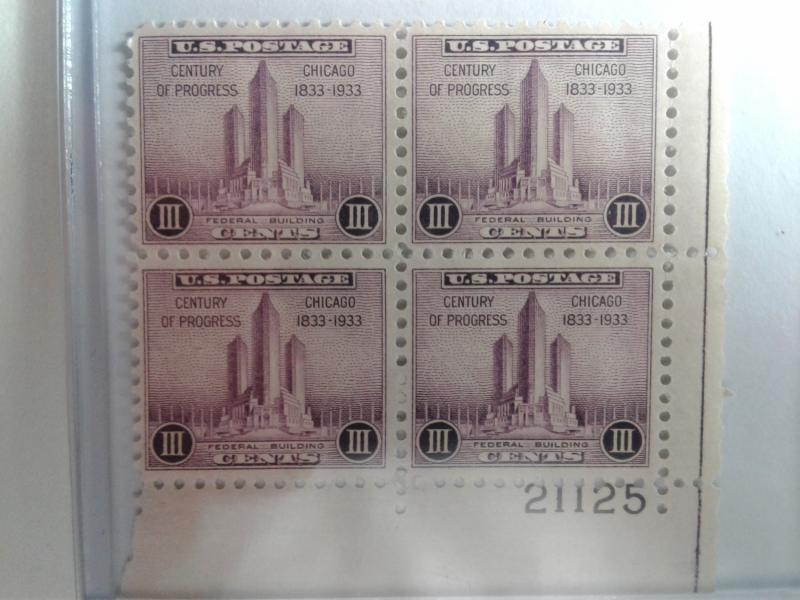 SCOTT # 729 PLATE BLOCK MINT LIGHT HINGED   1933