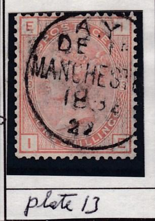 Great Britain 1881 QV Nr.87 1sh salmon Plate-13 Manchester CDS F/VF/Used