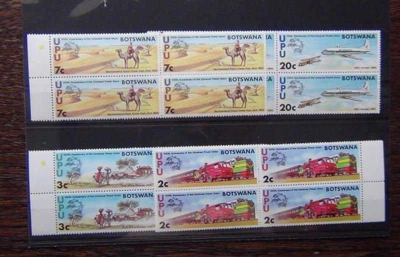 Botswana 1974 Centenary of UPU in block x 4 MNH