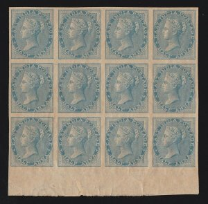 INDIA 1856 QV ½a Die I IMPERF block MNH ** RARE cat £10,800+++