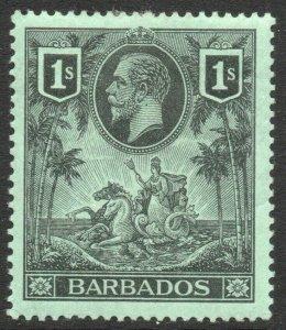 BARBADOS-1912 1/- Black/Green Sg 178 MOUNTED MINT V46262