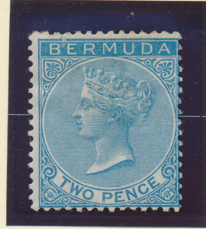 Bermuda Stamp Scott #2, Mint/Unused No Gum, Hinge Remnant, Thin Spot