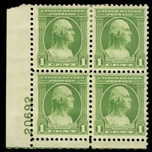 US #705 PLATE BLOCK, VF/XF mint hinged, bottom NH, terrific color,  NICE!