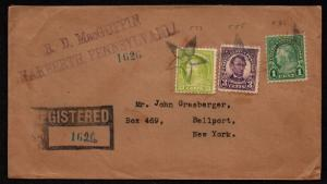 $ 1927 Narberth PA fancy star cancels, Registered cover