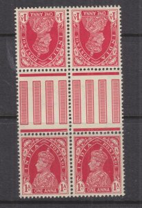 INDIA, 1940 KGV 1a. Carmine, Gutter tete-beche pair of pairs, mnh./lhm.