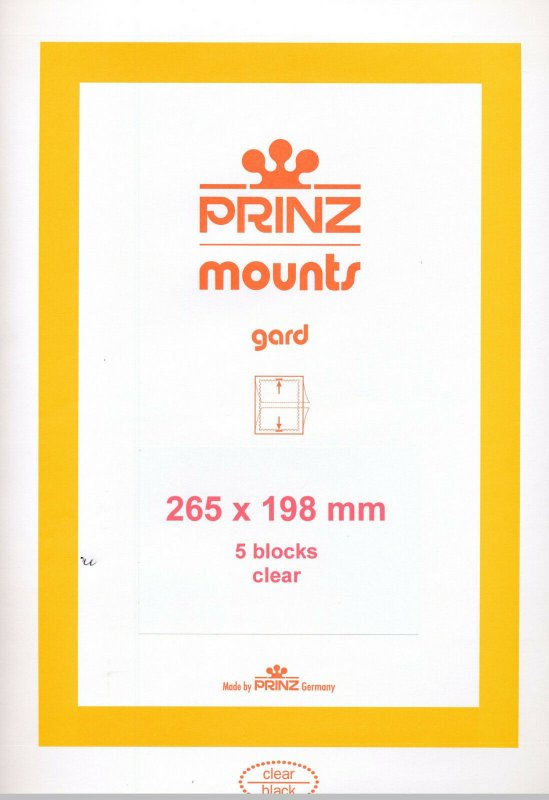 Prinz Scott Stamp Mount 198/265 mm - CLEAR (Pack of 5)(198x265 198mm) STRIP 1075