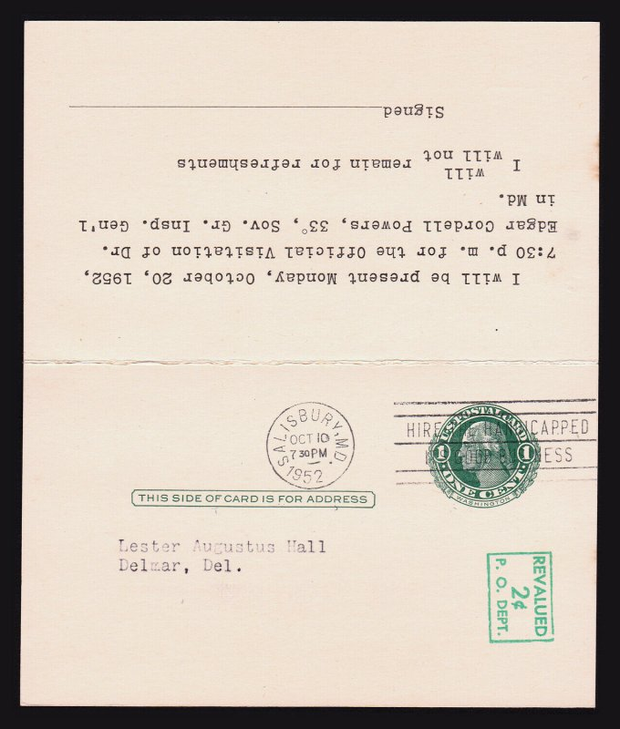 US REPLY CARD ENTIRE REVALUED SCOTT #UY14 (PM4 + PR4) 1951 PREPRINTED MASONIC
