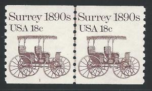Scott 1907 Pl#1 Pair with Line, Never Hinged, Original Gu...