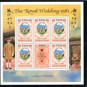 GRENADINES 1981 ROYAL WEDDING 40c M/SHEET WITH RPG OVERPRINT