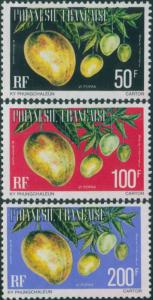 French Polynesia Official 1977 Sc#O13-O15,SGO252-O254 Vi Popaa fruit MLH