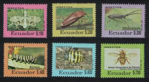 Ecuador Bees Beetles Fly Insects 6v SG#2162-2167