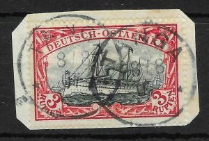 GERMAN EAST AFRICA SG25 1901 3r BLUE-BLACK & RED USED ON SMALL PIECE