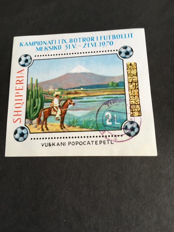 Albania #1394 Used CTO Cat. $3. 1971 Painting 2L Souv. Sheet VF
